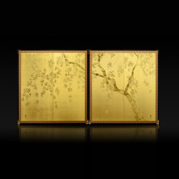Two-panel paired folding screens: Weeping Cherry Blossoms 【Free Shipping】