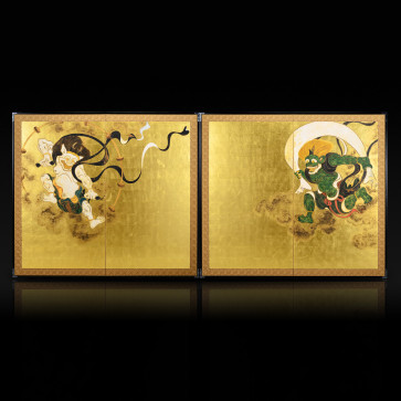 Two-panel paired folding screens: Wind God and Thunder God
