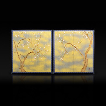 Two-panel paired folding screens: The Old Plum