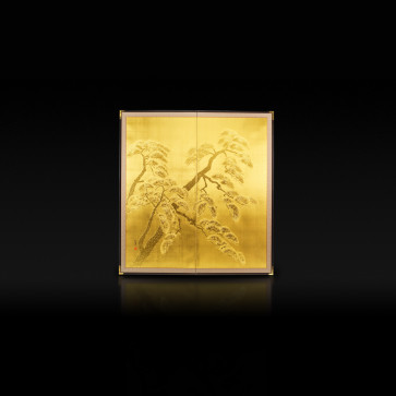 Rikyu folding screen: Lucky Pine Tree (gold)【Free Shipping】