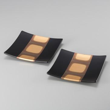 Kodaihaku Square Plates (Black S) From Japan
