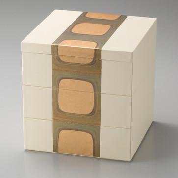 Kodaihaku Three-Layered Box <white> (5 inch) From Japan
