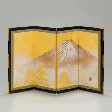 Miniature four-panel folding screen: Fuji