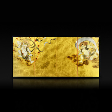 Miniature four-panel folding screen: Wind God and Thunder God
