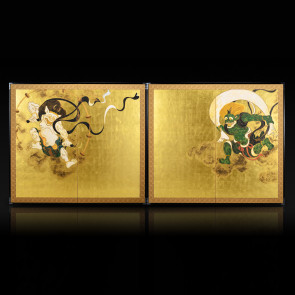 Two-panel paired folding screens: Wind God and Thunder God 【Free Shipping】
