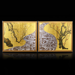 Two-panel paired folding screens: Red and White Plum Blossoms 【Free Shipping】