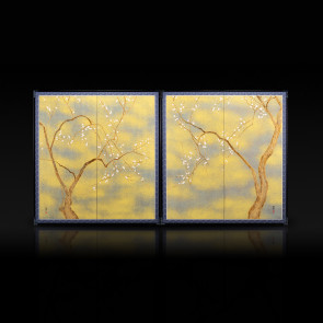 Two-panel paired folding screens: The Old Plum 【Free Shipping】