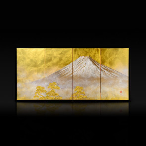 Miniature four-panel folding screen: Fuji (large) 【Free Shipping】