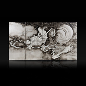 Miniature four-panel folding screen: Dragon and Clouds 【Free Shipping】