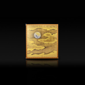 Rikyu folding screen: Moon and Clouds 【Free Shipping】