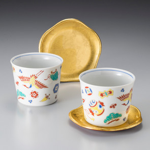 Golden Glowing Treasures: Cup & Saucer Set, Set of 2 【Free Shipping】