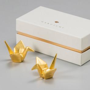 Kissho: Gold crane chopsticks holders (set of two)【Free Shipping】