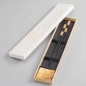 Chopsticks and Chopsticks Holder Set: Hanaoboro [black]【Free Shipping】